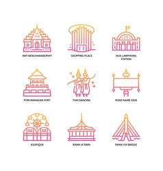 Bangkok symbols and landmarks icons vector