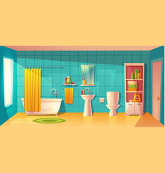Bathroom interior room with furniture vector