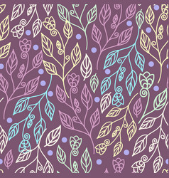 beautiful floral seamless pattern with leaves vector image