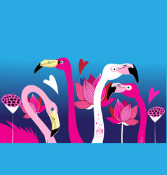 beautiful portraits graphics pink flamingos vector image