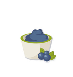 blueberry cream in bowl vector image