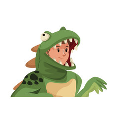 Boy teenager in a suit dinosaur halloween vector