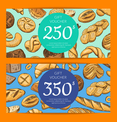 card with hand drawn bakery vector image