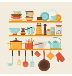Card with kitchen shelves and cooking utensils in vector