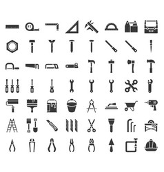 carpenter handyman tool and equipment icon set vector image