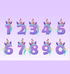 Cartoon cute numbers unicorns for kids school ui vector