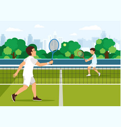 cartoon father plays with son in tennis vector image
