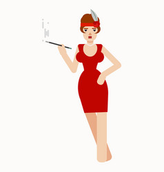 Charming lady smoking mouthpiece vector