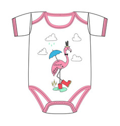 clothes of pink flamingo in red rain boots vector image