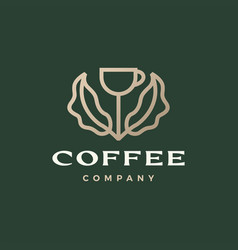 coffee cup tree leaf sprout logo icon vector image