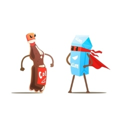 Coke Against Milk Cartoon Fight vector