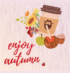 colorful enjoy autumn card vector image