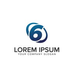 creative modern number 6 logo design concept vector image