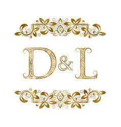 D and l vintage initials logo symbol the letters vector