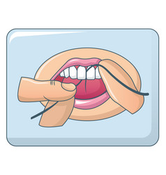 dental floss in mouth concept background cartoon vector image
