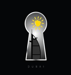 Dubai icon travel behind keyhole vector