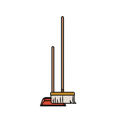 Dustpan and broom in colored crayon silhouette vector