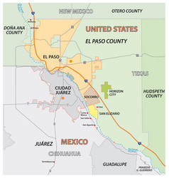 el paso county map united states vector image