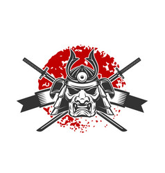 emblem with samurai helmet and crossed katana vector image