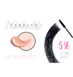 Fashion make-up banner beauty and cosmetics vector