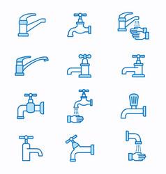 Faucet flat line icon set vector