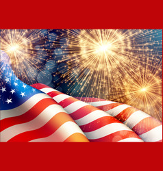 Fireworks background for 4th july independense vector