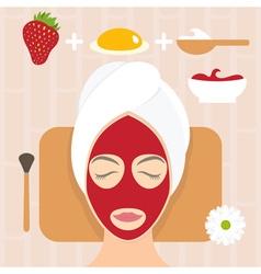 Flat design woman in natural mask of yogurt egg vector image