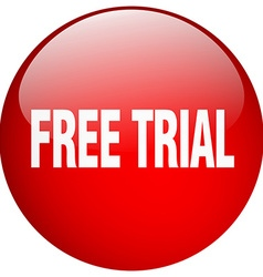 Free trial red round gel isolated push button vector