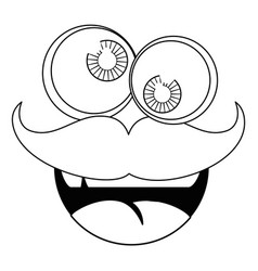 Funny face mustache vector
