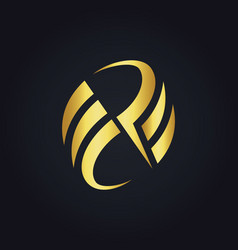 Gold abstract circle letter p logo vector