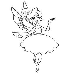 green fairy line art vector image