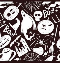 halloween seamless pattern hand drawn on dark vector image