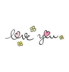 hand written love you vector image