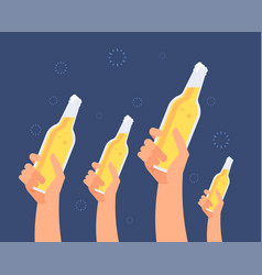 Hands with beer bottles excited girls and men vector