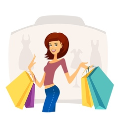 Happy beautiful woman with shopping bags vector