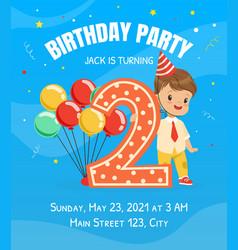 happy festive invitation card with boy in birthday vector image