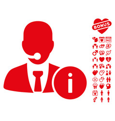 Help desk icon with valentine bonus vector