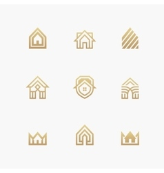 Houses logo set on white background vector
