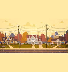 Houses suburb big city in autumn cottage real vector