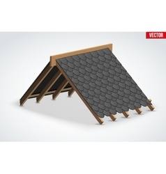 Icon of Roof with shingles bitumen roofing cover vector