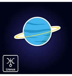 icons with Uranus and astrology symbol of planet vector image