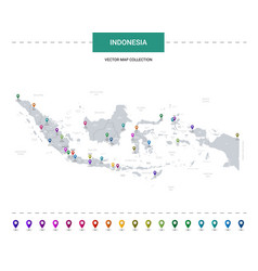 Indonesia map with location pointer marks vector