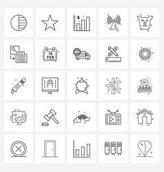 Isolated symbols set 25 simple line icons of vector