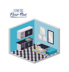 isometric floor plan of home kitchen and dining vector image