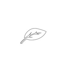 leaf icon continuous one line drawing green vector image
