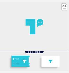 Letter t chat logo template design vector