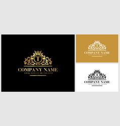 Letter t logo design luxury gold vector