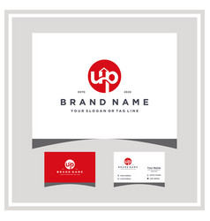 Letter up logo design and business card vector