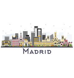 Madrid spain skyline with gray buildings isolated vector