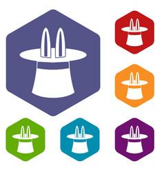 Magic hat icons set vector